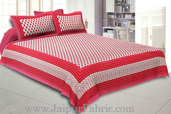 Double Bedsheet Pink Border Fine Cotton Leaf Print With Two Pillow Cover