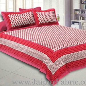 Double Bedsheet Red Border Fine Cotton Leaf Print With Two Pillow Cover