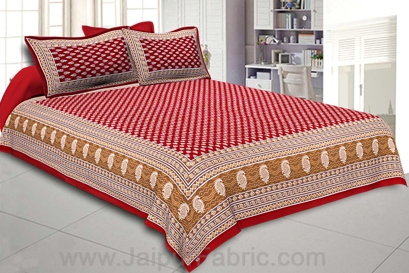 Crimson Border Floral Pattern Screen Print Cotton Double Bed Sheet