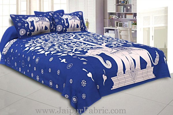 Double Bedsheet With Big Elephant And Tree Pattern With Two Pillow Cover