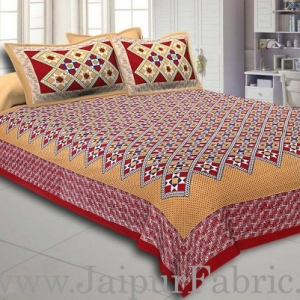 Red Border Mustard Base Designer Check Pattern Cotton Double Bed Sheet