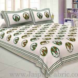 Double Bedsheet Grey  Border  Fine Cotton Green Tree Print