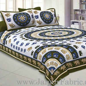 Double bedsheet Mehandi Green Border With Elephant Print Fine Cotton With Two Pillow Cover