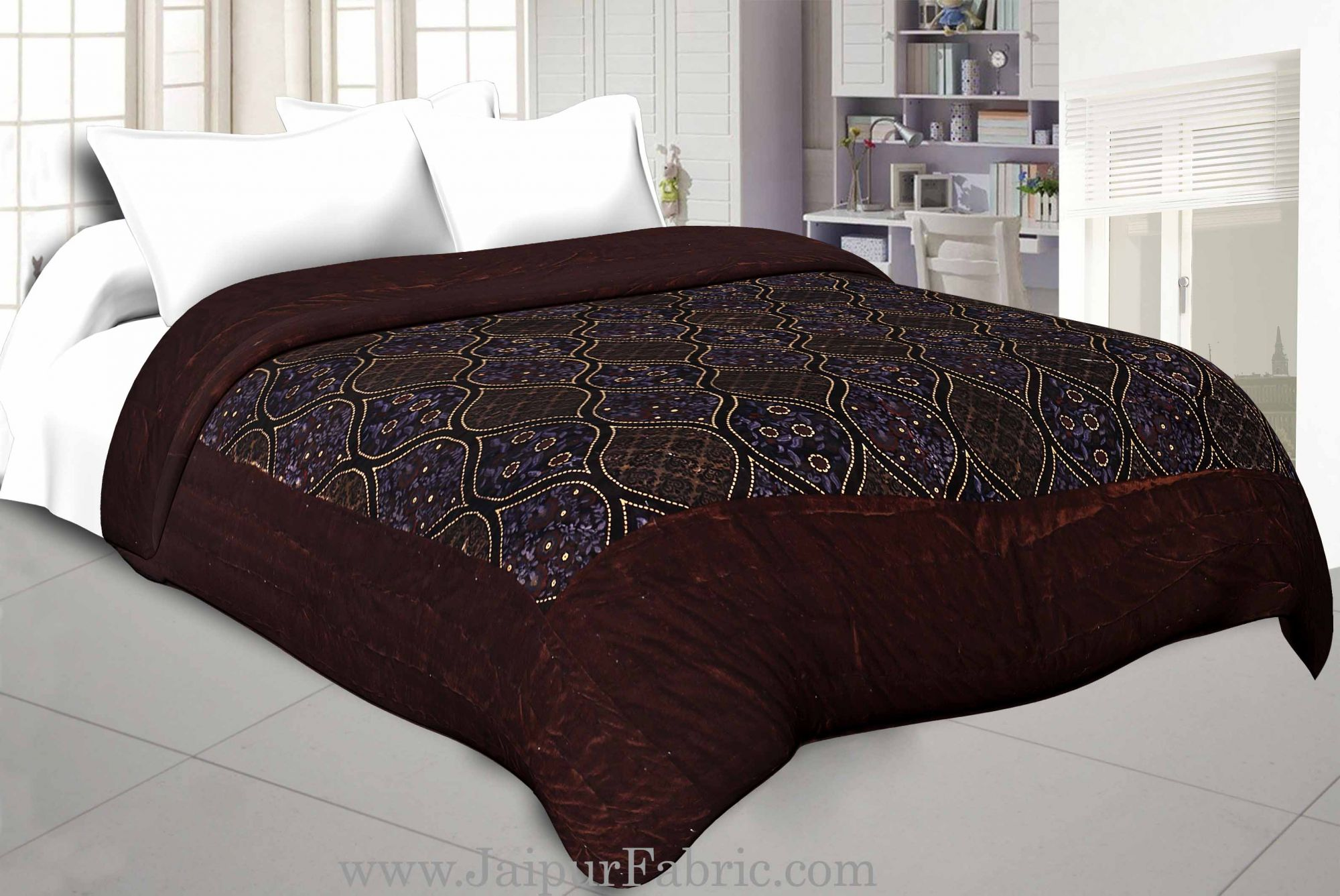 Brown With  Leaf Print  Velvet(Shaneel) Double  Bed Quilt