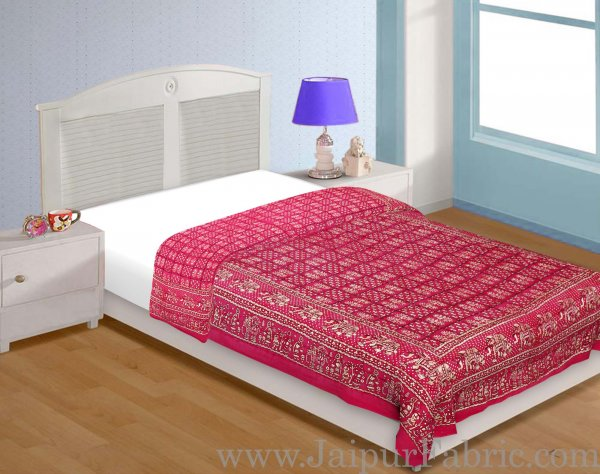Magenta Base Golden Print  With Elephant Design Fine Cotton Single Bed Quilt