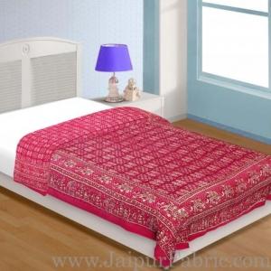 Magenta Base Golden Print  With Elephant Design Fine Cotton Single Bed Quilt