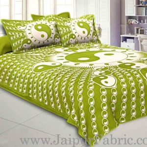 Green  Border Green Base Doordarshan  Print Fine Cotton Double Bedsheet  With Pillow Cover