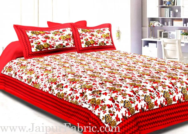Maroon Border With Zigzag Pattern Floral Print Double Bed Sheet  With 2 Pillow Cover