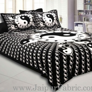 Black  Border Black  Base Doordarshan  Print Fine Cotton Double Bedsheet  With Pillow Cover