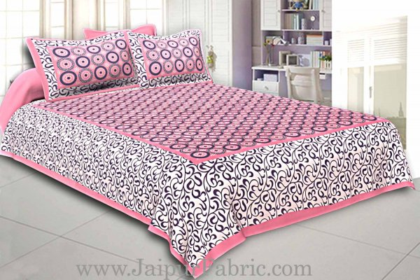 Pink Border White Base Circle Pattern Screen Print Cotton Double Bed Sheet