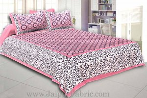 Wholesale Pink Border White Base Circle Pattern Screen Print Cotton Double Bed Sheet