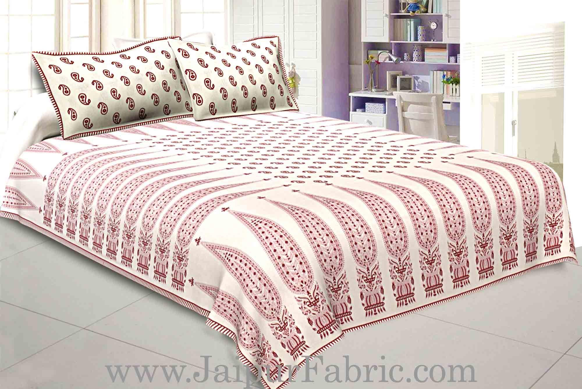 Double bedsheet Red Long Leaf Smooth Cotton Screen Print