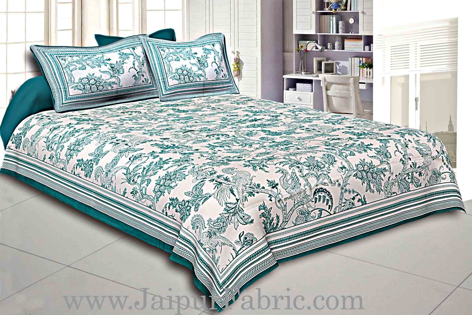 Green Border Cream Base Leaf And Floral Cotton Satin Hand Block Double Bedsheet