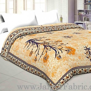 Jaipuri Printed Double Bed Razai Cream Base with Mughal pattern
