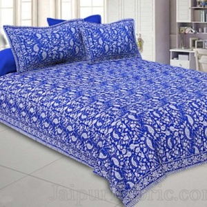 Double Bedsheet Royal Blue Paisley Floral Pattern