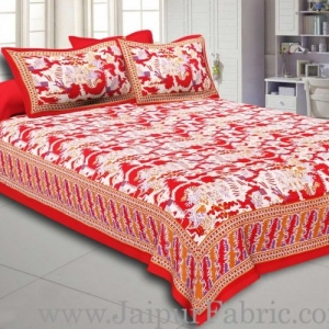 Maroon Border Good Looking Heritage Design Pure Cotton Double Bedsheet With Pillow Cover