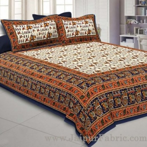 Super King Size Double Bedsheet Blue Jaipuri Traditional Print with 2 Pillow Covers