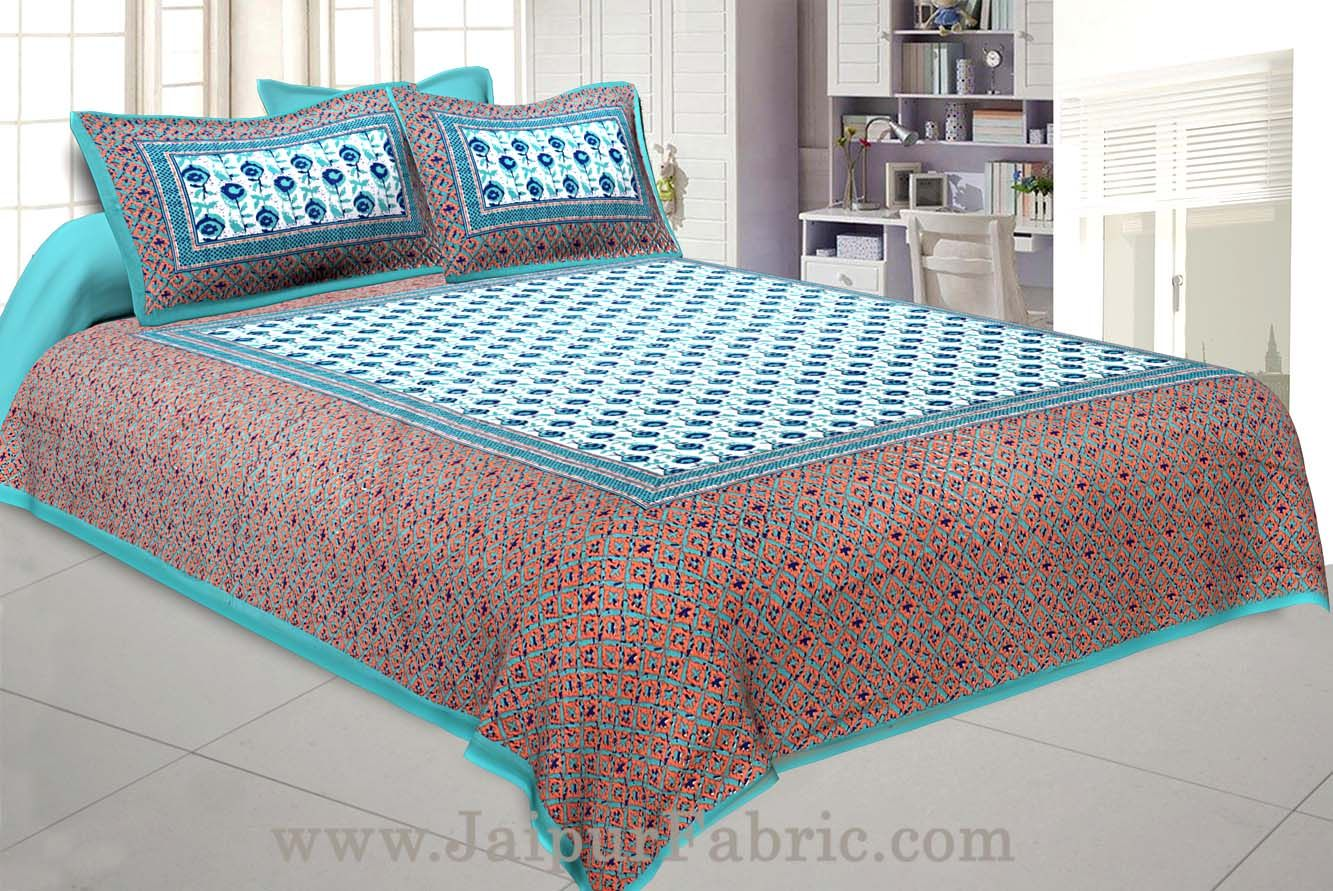 Floral BedSheet Double Bed with SeaGreen Base