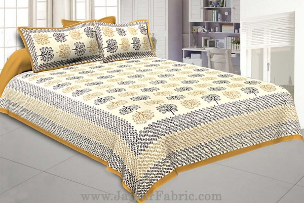 Brown Trees Double Bedsheet With 2 Pillow covers