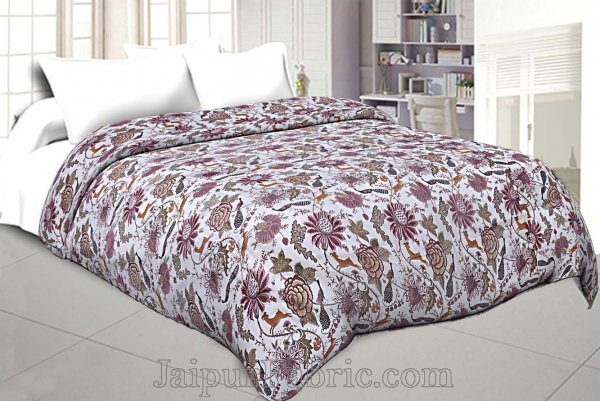 Muslin Cotton Double bed Reversible mulmul Dohar in seamless pink floral print