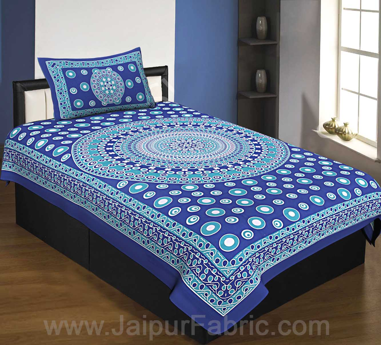 Single Bedsheet Blue Color  Rangoli Pattern Smooth Touch With 1 Pillow Cover