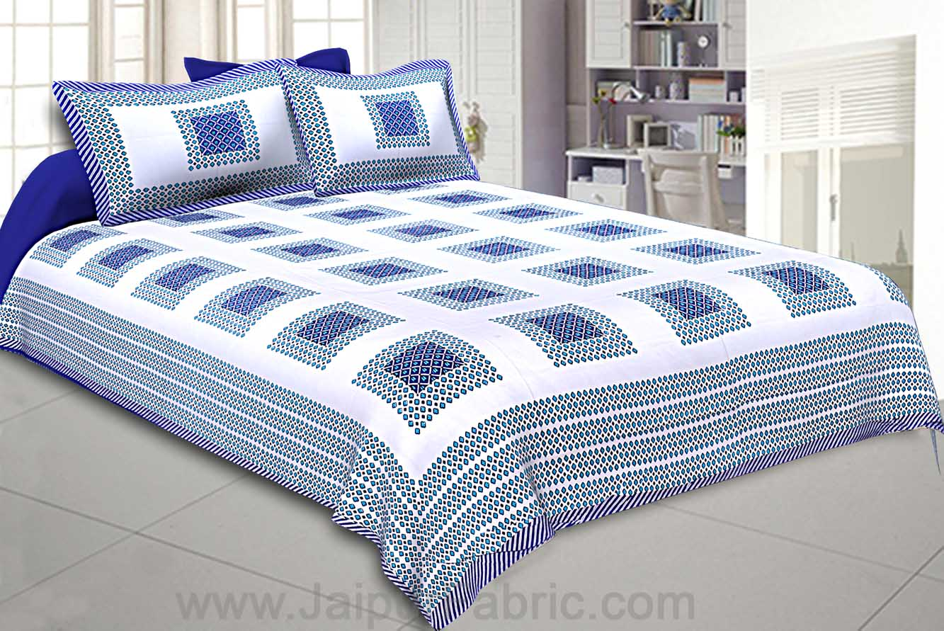 Double Bedsheet Navy Blue Checks Cotton