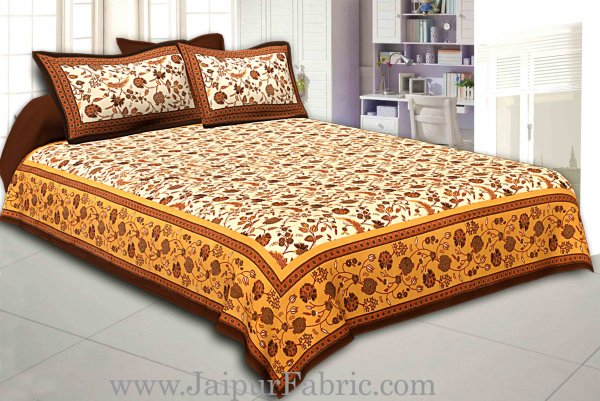 Cream Base Brown Border Golden Floral Print Cotton Double Bed Sheet