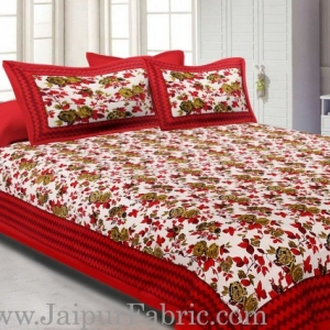 Orange Border With Zigzag Pattern Floral Print Double Bed Sheet  With 2 Pillow Cover