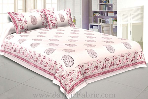 Double Bed Sheet White Base With Kadhi Print Blue Paisley  Hand Block Print Super Fine  Cotton