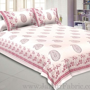 Double Bed Sheet White Base With Kadhi Print Blue Paisley  Hand Block Print Super Fine  Cotton