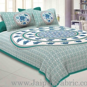King Size Bedsheet Sea Green  Border Circle Elephant Pattern Screen Print With Two Pillow Cover