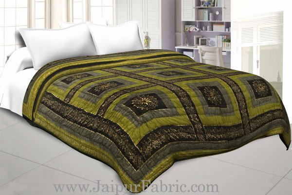 Mehandi And Green Golden Jaipuri  Tree  print Double Bed Quilt