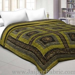Mehandi And Green Golden Jaipuri  Tree  print Double Bed Quilt