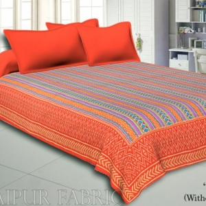Orange Border Yellow And Orange Zig Zag Pattern With Thread Hand Work(Kantha) Gudri ( Bed Cover)