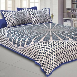 Blue Kalangi Printed Cotton Double Bed Sheet