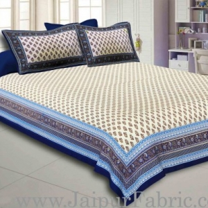 Blue Border Cream Base Golden Floral Print Super Fine Cotton Voile(Mulmul) Cotton Double Bedsheet
