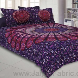 Purple Mandala Double Bedsheet Tapestry with 2 Pillow Covers