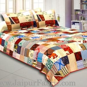 Mix  Small Tukdi Super Fine Cotton Golden Print Double Bedsheet