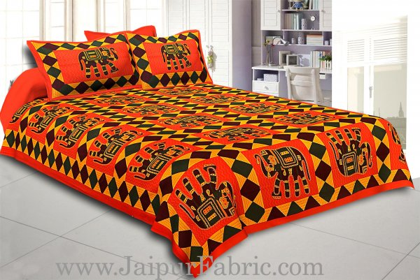 Orange Border Orange Base Big Elephant Square Pattern Cotton Double Bed Sheet