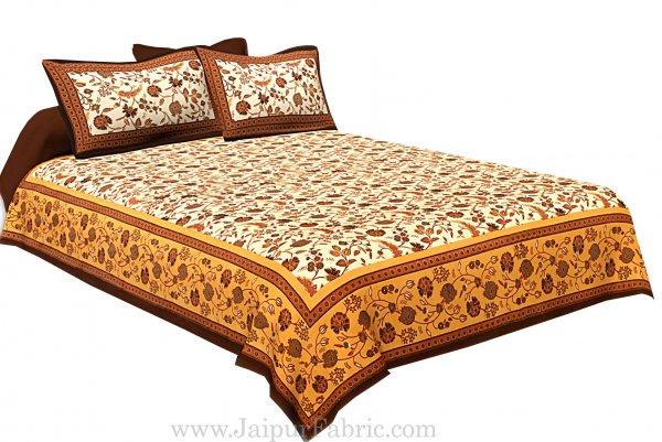 Cream Base Brown Border Golden Floral Print Cotton Double Bed Sheet