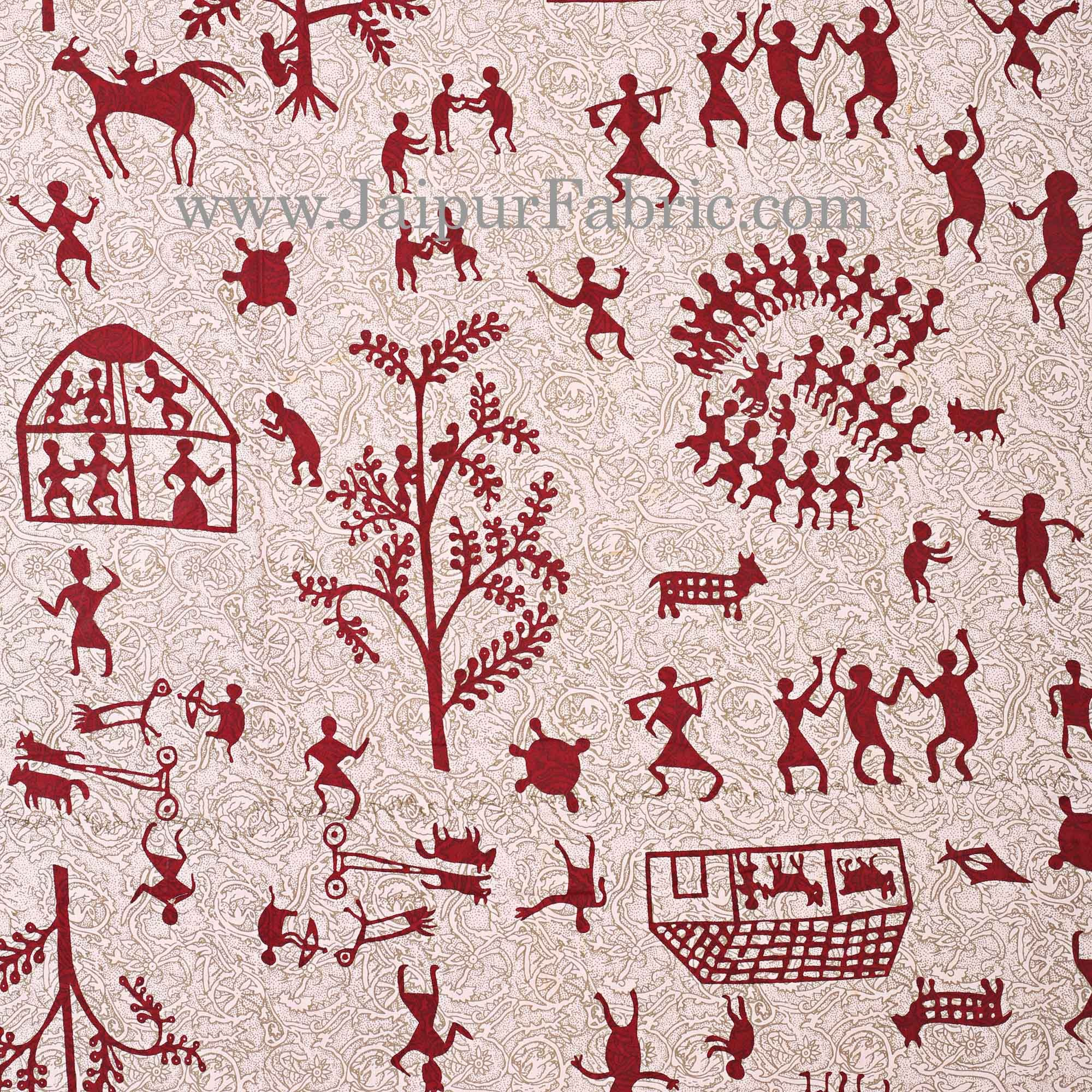 Maroon Border Cream Base Light And Rural Pattern Super Fine Cotton Double Bed Sheet