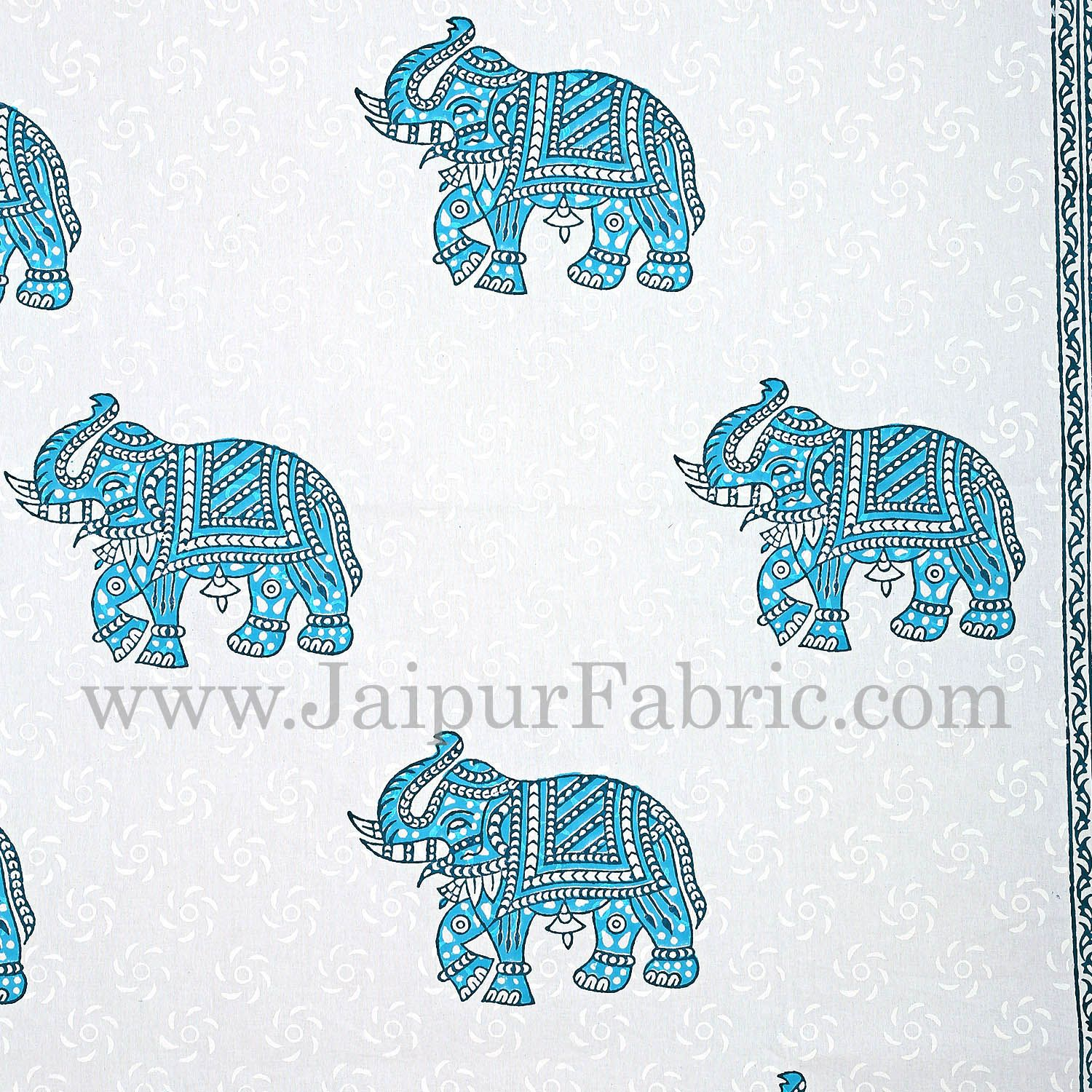 White Border With White Base Blue Elephant Hand Block Print Super Fine Cotton Double Bed Sheet
