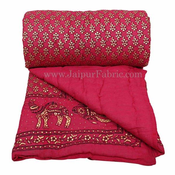 Jaipuri Razai Rani Color Camel Golden Print Single Bed Quilt