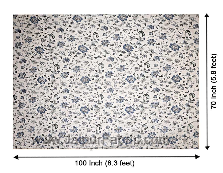 Pure Cotton 240 TC Single Bedsheet in blueish floral pattern taxable