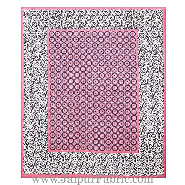 Pink Border White Base Circle Pattern Screen Print Cotton Double Bed Sheet