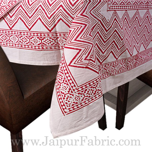 Red Border White Base Leaf Pattern Hand Block Print Super Fine Cotton Table Cover