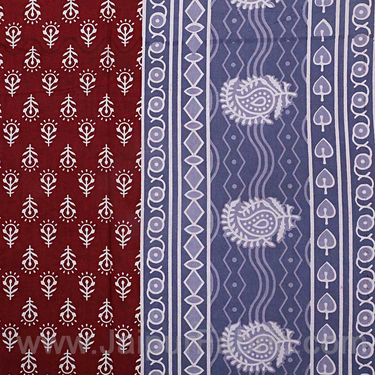 Maroon Border Maroon Base Floral Pattern Screen Print Cotton Single Bedsheet