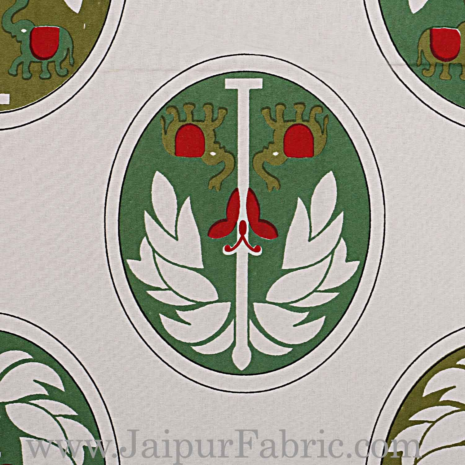 Double Bedsheet Grey  Border  Fine Cotton Green Tree Print