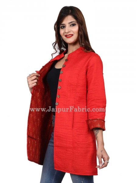 Women Solid Red Jacket