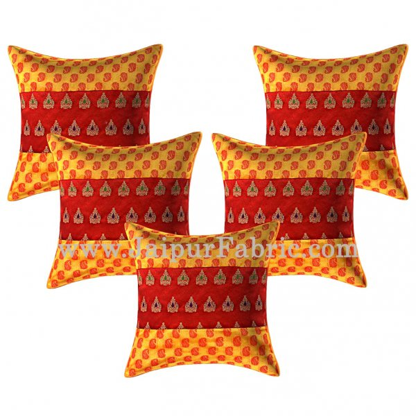Yellow Color Paisley Print Cushion Cover